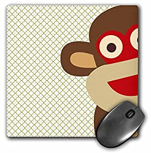 3dRose LLC 8 x 8 x 0.25 Inches Mouse Pad, Sock Monkey Peeking Around Corner (mp_63511_1)