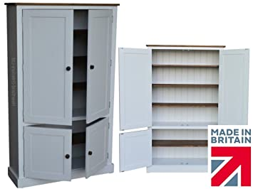 100% Solid Wood Cupboard, White Painted & Waxed 4 Door Pantry, Larder, Linen, Shoe, Hallway or Kitchen Storage Cabinet. No flat packs, No assembly (CUP100-P)