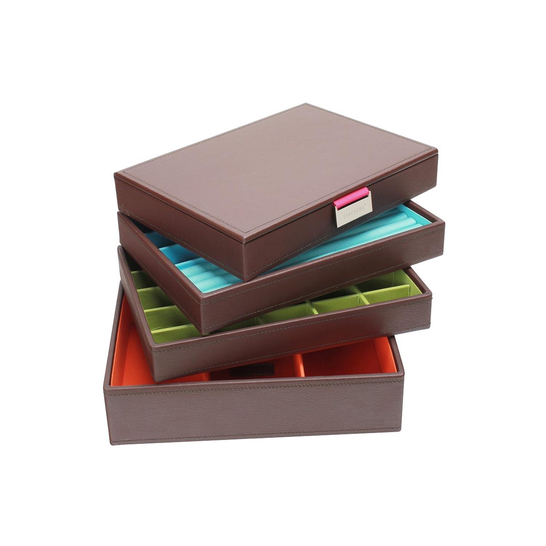 boite bijoux stackers coffret bijoux marron et cr me comprenant 4 tiroirs. Black Bedroom Furniture Sets. Home Design Ideas