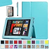 All-New Kindle Fire HD 7.0 Case - ULAK Slim Fit PU Leather Standing Protective Cover with Auto Sleep/Wake Feature for All-New Amazon Kindle Fire HD 7.0 Inch 2013 Gen with Screen Protector, Aqua Blue