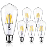LED Edison Bulb Vintage Style Lighting Dimmable 6W 6000K Daylight White Filament Light Bulbs E26 Base 6-Pack for Wall Sconces Pendant Chandelier by LUXON (Color: Daylight White-6000k, Tamaño: PACK OF 6)