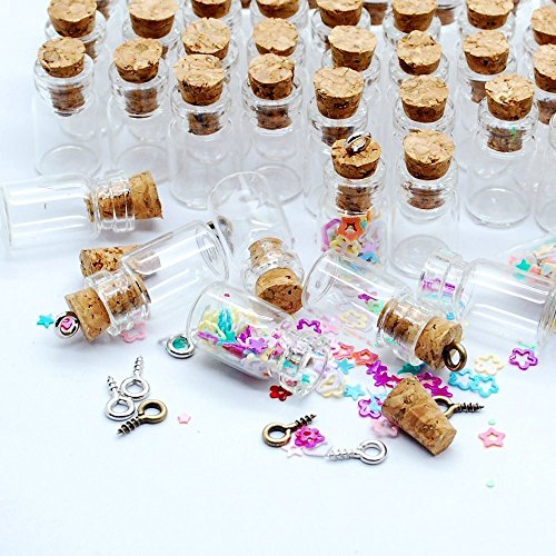 Happy Will 50pcs 0.5ml 18x10mm Vials Clear Glass Bottles Empty Sample Jars Miniature Glass Bottle with Corks for Wedding Favor