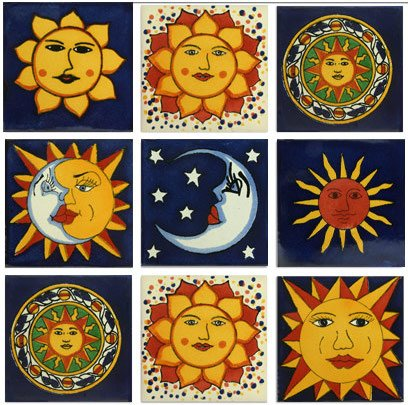 Sun Motif Talavera Mexican Tile Collection