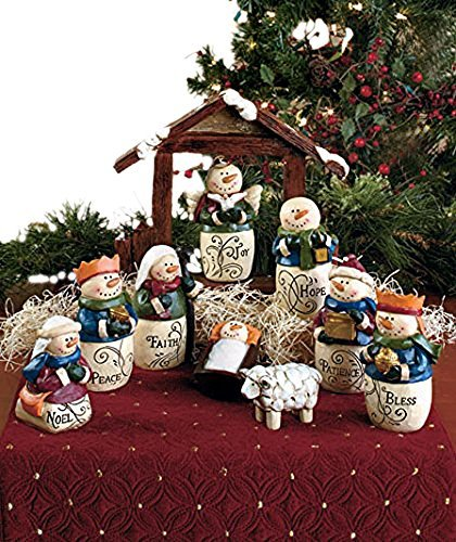 10-Pc. Inspirational Snowman Nativity Set Christmas Seasonal Holiday Decor