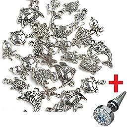 Lot 40x Marine Ocean Fish & Sea Creatures Charm Beads Tibetan Silver Finding