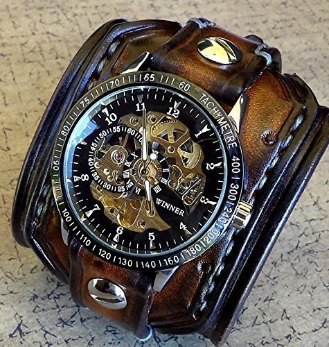 Steampunk Leather Wrist Watch, Skeleton Men's watch, Aged brown Leather Cuff, Bracelet Watch, Watch Cuff	 1