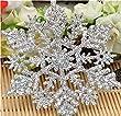 24pcs Plastic Glitter Snowflake,10cm,Silver,24 Per Package