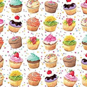 Amazon.com: Entertaining with Caspari Gift Wrapping Paper, Cupcakes, 2