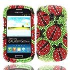 Nextkin Samsung Galaxy S III mini i8190 Bling Crystal Full Rhinestones Diamond Case Protector - Ladybugs On Green