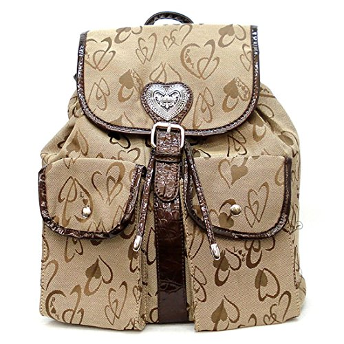 diophy-brown-khaki-taupe-canvas-heart-signature-string-pockets-backpack-bag