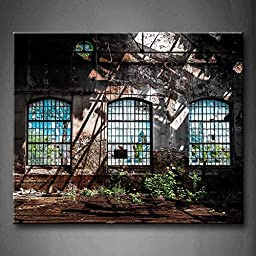 Modern Home Decoration painting Abandoned Industrial Interior With Bright Light Ruin Window Plant The Picture Print On Canvas Architecture Pictures