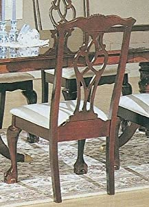 Set of 2 Chippendale Cherry Finish Wood Dining Chairs