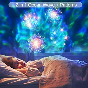 Christmas LED Projector Lights, 2-in-1 Remote Control Ocean Wave with Moving Patterns Holiday Light, Waterproof Outdoor Indoor for Xmas Party Yard Garden Halloween Decoration, 12 Slides 10 Colors (Color: Black)