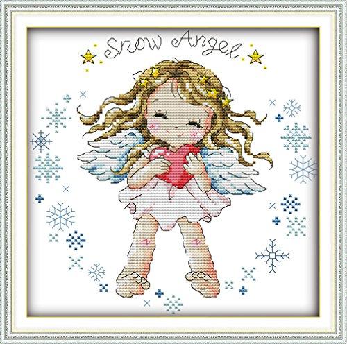 YEESAM ART Nouveau Point de Croix Kits de Broderie au Avancée - Neige Angel l'ange Bébé Fille 14 Comptage 26x26 cm Blanc Toile - Travaux d'aiguille Noël Cadeaux