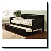 Solid Wood Black Finish Daybed with Trundle