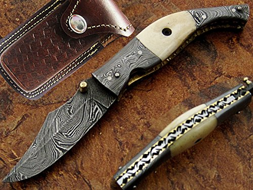 The White Tornado Pocket Knife Damascus Steel Blade Bone Handle