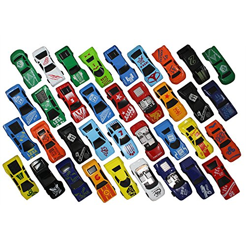 Race Car Toys Assorted for Kids, Boys or Girls - Free Wheeling Die Cast Metal Plastic Toy Cars Set of 36 Numbered Vehicles + Convertibles Great Gift, Party Favors or Cake Toppers (Toy Race Cars compare prices)