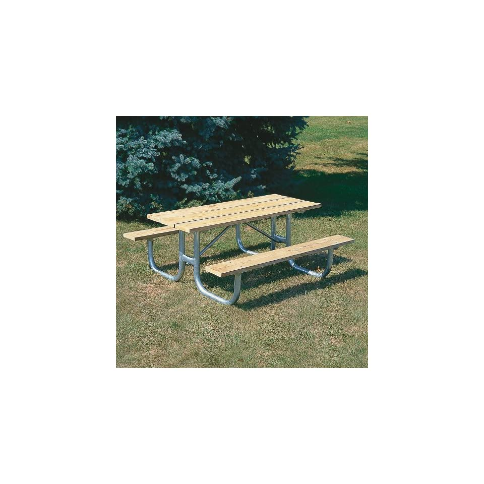 Extra Heavy Duty Wooden Picnic Table   8L   Galvanized Frame   Galvanized Frame
