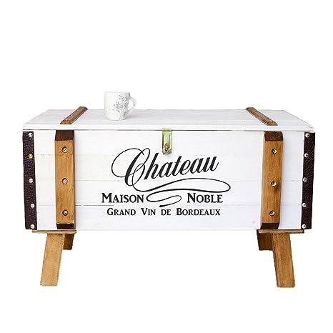 CRAVOG Couchtisch Truhe Frachtkiste Holzkiste Weiß 80 x 50 x 45 cm Chic Vintage mit Fuße Abmontiert