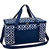 Picnic at Ascot 72 Can Large Folding Collapsible Cooler Trellis Blue Navy