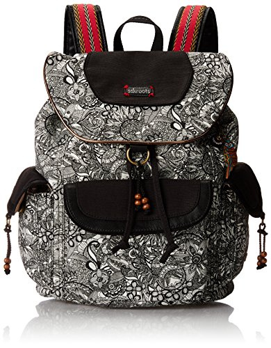 Sakroots Artist Circle Flap Backpack, Black/White Spirit Desert, One Size