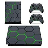 eXtremeRate Honey Comb Patterned Full Set Faceplates Skin Stickers for Xbox One X Console Controller with 2 Pcs Home Button Decals (Color: Honey Comb)