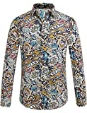 SSLR Men's Summer Casual Flower Short Sleeve Shirt