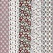 Textiles fran�ais Stoffpaket (Stoffpak) Kollektion 'Tr�ume in Farbe' 5 Stoffe - (Natur) Taupe-grau und beige mit rot   100% Baumwolle   Jedes St�ck 50 cm x 40 cm
