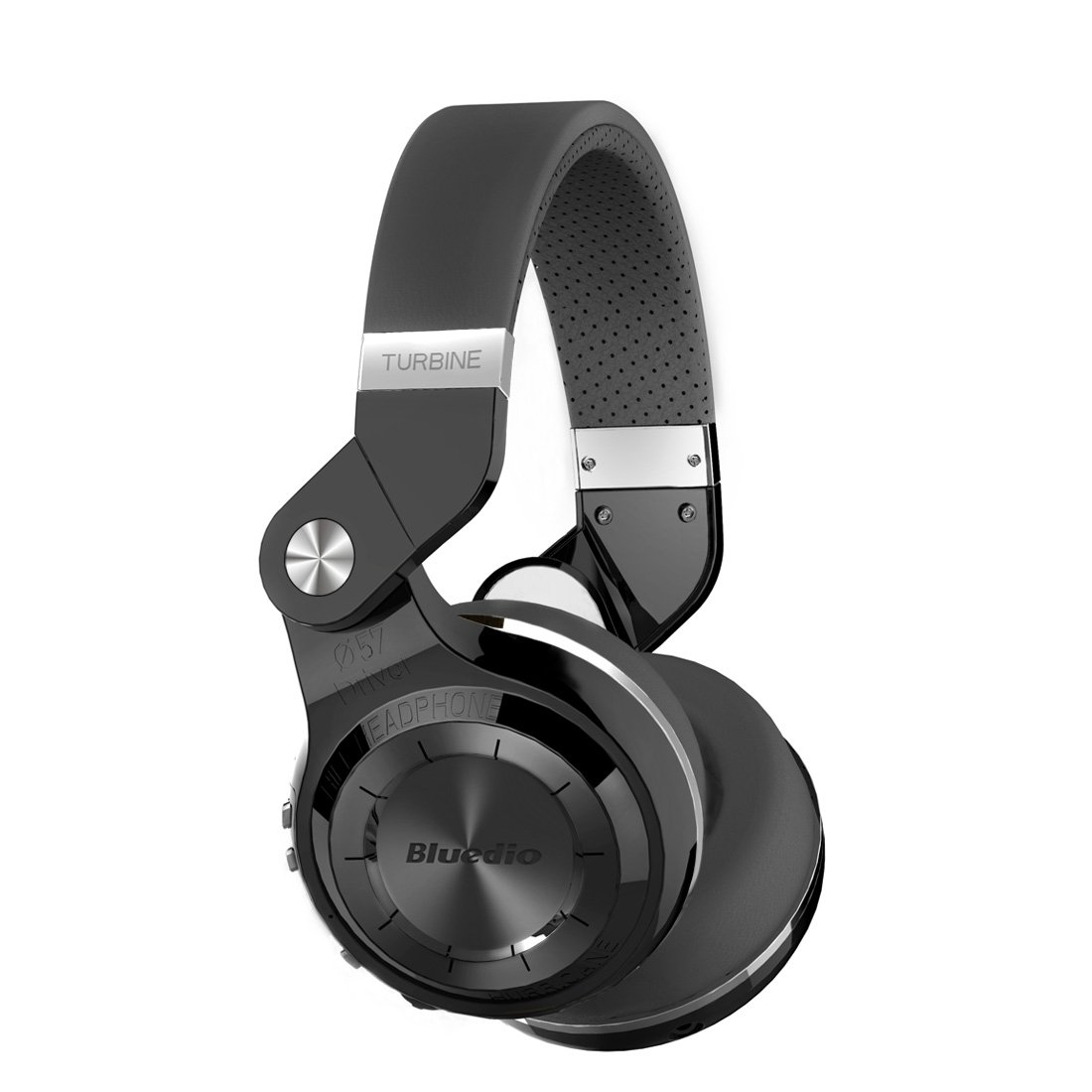Bluedio Turbine T2s Wireless Bluetooth Headphones with Mic, 57mm Drivers/Rotary Folding (Black)