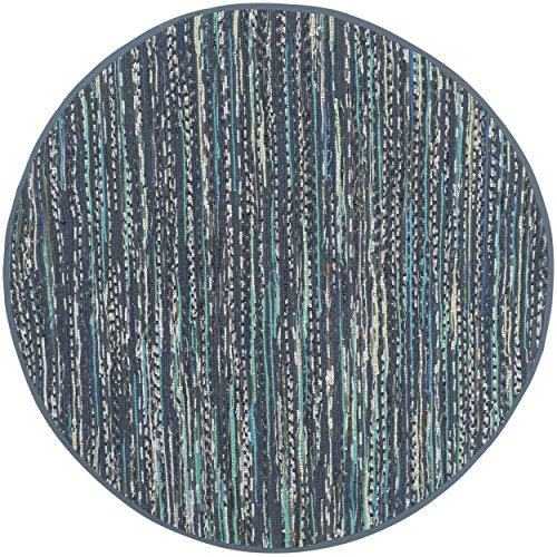 Safavieh Rag Rug Collection RAR121C Hand Woven Ink and Multi Cotton Round Area Rug, 4 feet in Diameter (4' Diameter)