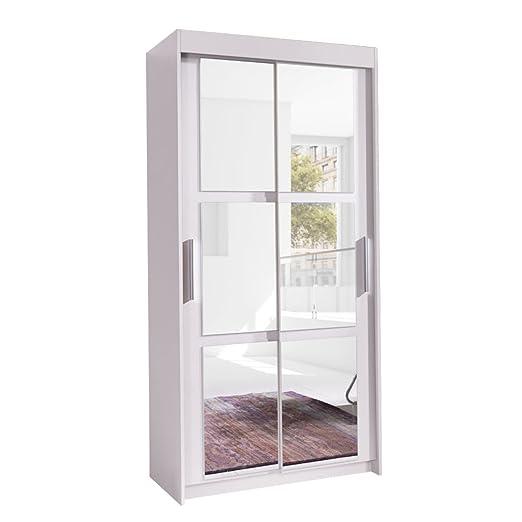 Kleiderschrank Karo 100, Elegantes Schlafzimmerschrank mit Spiegel, 100 x 216 x 60 cm, Modernes Schwebeturenschrank, Schiebetur, Schlafzimmer (Weiß)