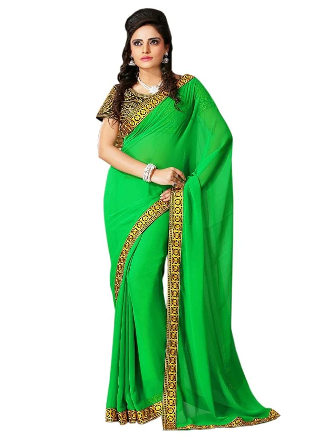 Ethnic Trend Chiffon Green Saree With Golden Border