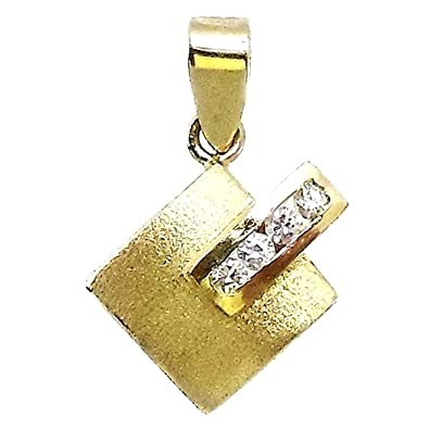 18k gold pendant zircons matt sheen [506T]