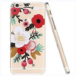 iPhone 7 , Colorful Rubber Flexible Silicone Case Bumper for Apple Clear Cover - Flower Floral Blossom Anemone Clear