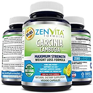 95% HCA Pure Garcinia Cambogia Extract - 90 Capsules, Highest Potency, Extremely Powerful NEW and IMPROVED Formula, Maximum Strength Natural Weight Loss Supplement, Appetite Suppressant, Fat Burner, and Carbs Blocker by ZenVita Formulas