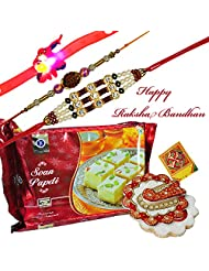 Designer Set Of 3 Rakhi With Soan Papdi And Chopda