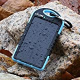 Levin⢠Solstar Solar Charger 6000mAh Rain-resistant and Dirt/Shockproof Dual USB Port Portable Charger Backup External Battery Power Pack for iPhone, iPods(Apple Adapters not Included), Android Phones,Windows phone and Other Devices (Blue)