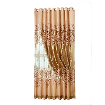 Living Room Curtains amazon living room curtains : Buy Generic 250*100cm Peony Pattern Voile Curtain Living Room ...