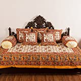 SheetKart Hand Block Cotton 8 Piece Diwan Set - 1 Bedsheet, 2 Bolster Covers, 5 Cushion Covers