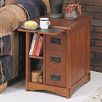 Superb  End Table Side Storage Unit Mission Oak Magazine Newspaper Holder Cabinet Wood Wooden Oak Finish Rustic Country Style Nightstand Bed Bedroom Furniture