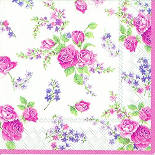 Rosamond Bianco Rosa floreale Confezione da 20tovaglioli di carta 33cm quadrato