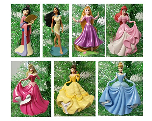 Disney Magical PRINCESS 7 Piece Holiday Christmas Tree Ornament Set Featuring Belle, Rapunzel, Ariel, Cinderella, Pocahontas, Mulan and Aurora – Ornaments Range 3″ to 4″ Tall