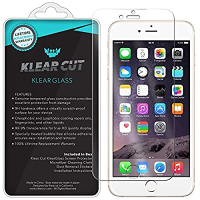"""iPhone 7 Screen Protector (iPhone 6s,iPhone 6 4.7""""), Klear Cut KlearGlass Ballistic Tempered Glass Screen Protector for iPhone 7 HD Clear 9H Hardness Anti-Bubble Shield - Lifetime Warranty"""