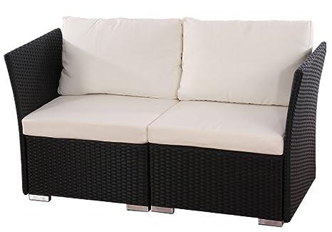 Canapé de jardin Siena de 2 places avec coussins polyrotin, coloris créme -PEGANE-