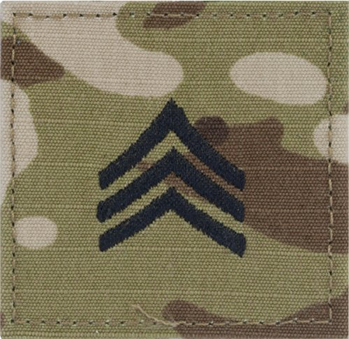 MultiCam RANK Insignia VELCRO (R) or HOOK Fastener E-5 SGT Black