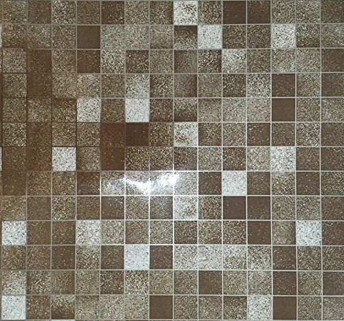 Kitchen PVC Aluminum Foil Self-adhensive Mosaic Stickers Oil Wallpaper Wall Stickers Bathroom Mirror Waterproof Wall Sticker Brown Size 17.7 inches by 78.7 inches (45x200cm) (Sticker Kitchen Cabinet compare prices)