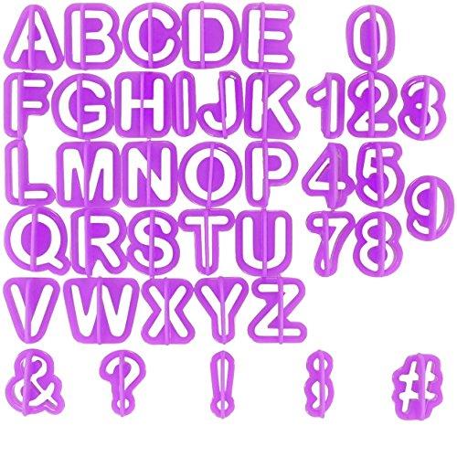 Tagliapasta alfabetici per dolci Chefarone - 40 pz stampi - Ritagli lettere e numeri - Set per decorazione torte (viola)
