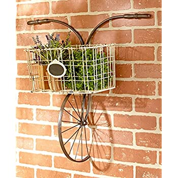 Bicycle Design Metal Wire Wall Basket Indoor/Outdoor Unique Home Decor