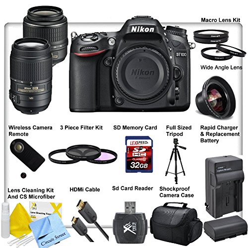 Nikon D7100 Digital Slr Camera, With Nikon 18-55Mm F/3.5-5.6G Af-S Dx Vr Nikkor Zoom Lens, Nikon 55-300Mm F/4.5-5.6G Ed Vr Af-S Dx Nikkor Lens, Enel15 Replacement Battery, Full Size 50' Tripod, Wireless Camera Remote, 3 Piece Professional Multicoated Lens