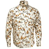 Relco Cream/Brown L/S Button Down Mod 60's 70's Retro Floral Print Shirt S- XXL